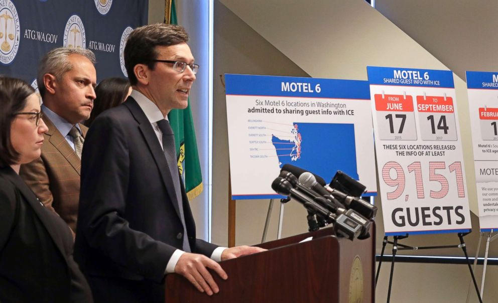 PHOTO: Washington state Attorney General Bob Ferguson addresses a news conference, Jan. 3, 2018, in Seattle, announcing that his office is suing Motel 6.