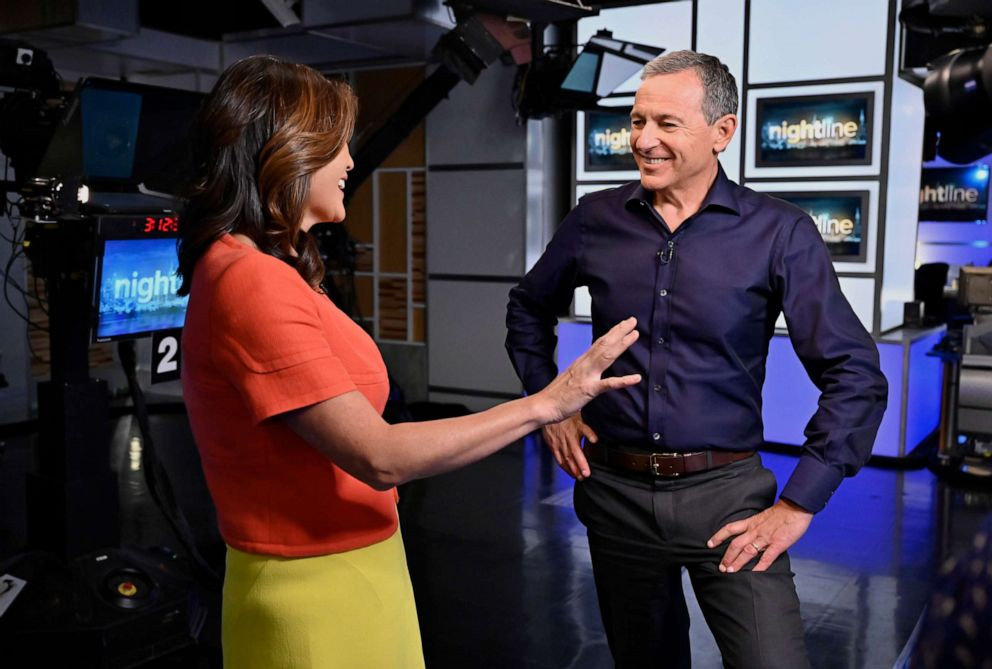 PHOTO: Nightlines co-anchor Juju Chang and Chairman and CEO of The Walt Disney Company Robert Iger discuss his book The Ride of a Lifetime, his career at The Walt Disney Company and his personal upbringing.