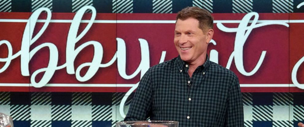 """PHOTO: Bobby Flay cooks from his new book """"Bobby At Home"""" on """"The View,"""" Sept. 27, 2019."""