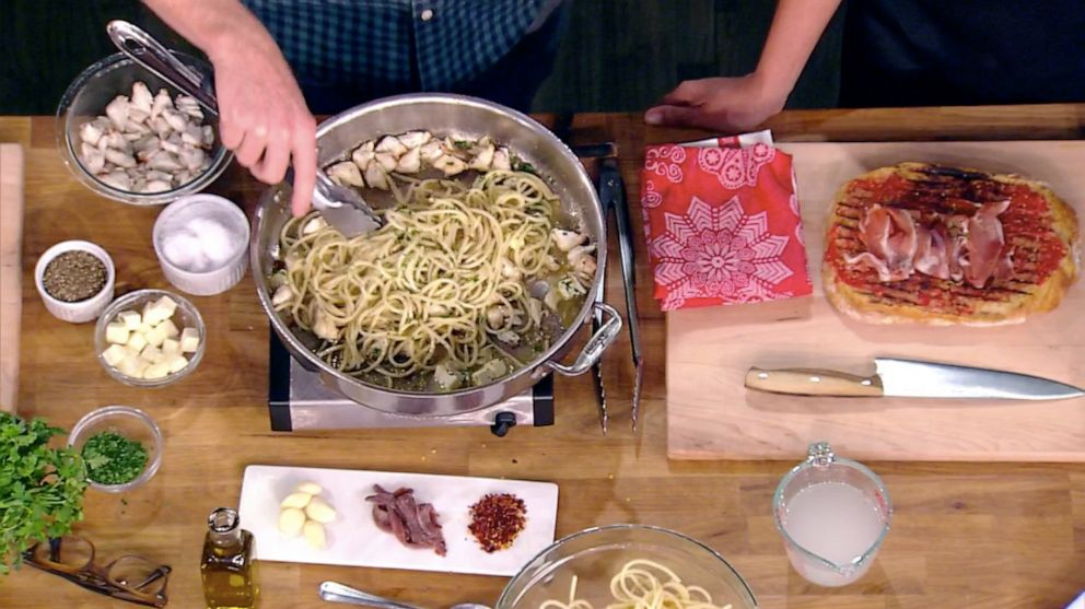 PHOTO: Bobby Flay cooks Calabrian Chile crab spaghetti from his new book Bobby At Home on The View, Sept. 27, 2019.