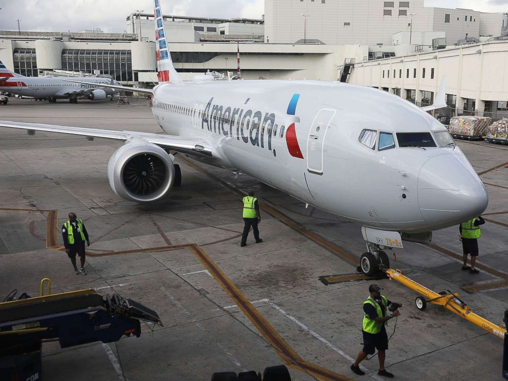 PHOTO: American Airlines Boeing 737 Max 8 pulls into its gate after arriving at the Miami International Airport from Saint Thomas, March 13, 2019, in Miami.