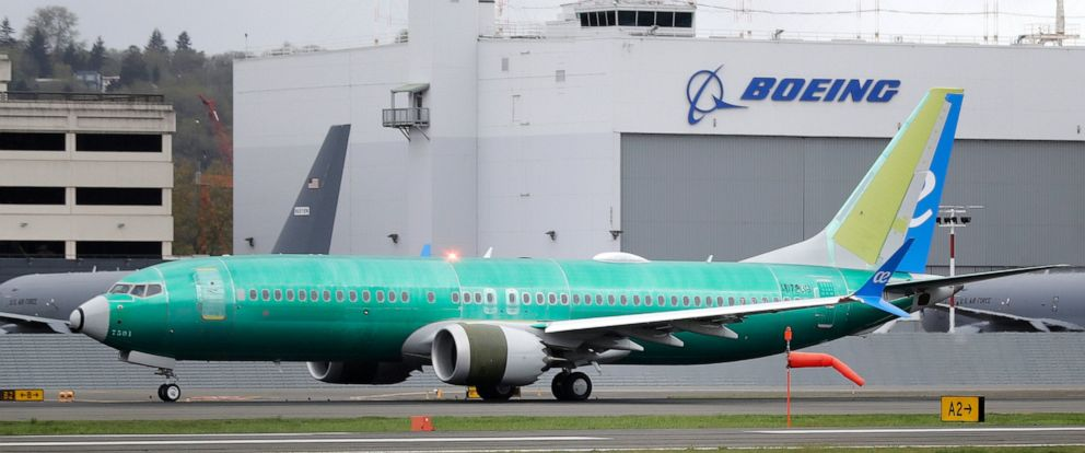 PHOTO: A Boeing 737 MAX 8 airplane being built for Spain-based Air Europa rolls toward takeoff before a test flight, Wednesday, April 10, 2019, at Boeing Field in Seattle.