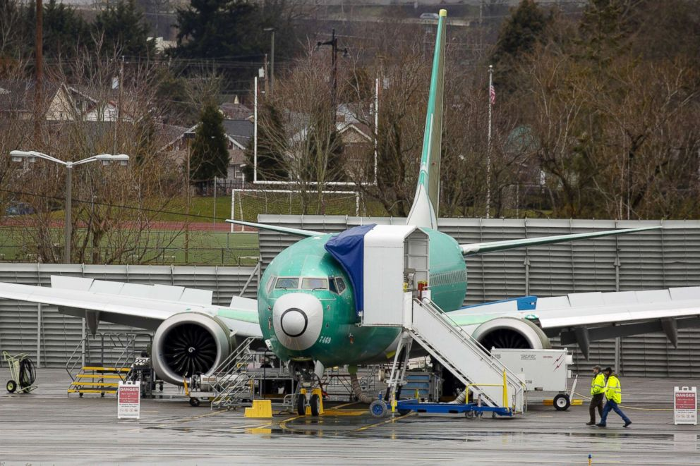 PHOTO: A Boeing Co. 737 Max 8 plane is seen at the companys manufacturing facility in Renton, Washington, March 12, 2019.