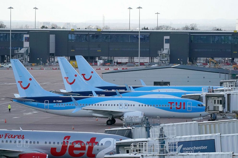 PHOTO: Boeing 737 Max-8 aircraft are parked up at a gate in the terminal of Manchester Airport, March 12, 2019, in Manchester, England.