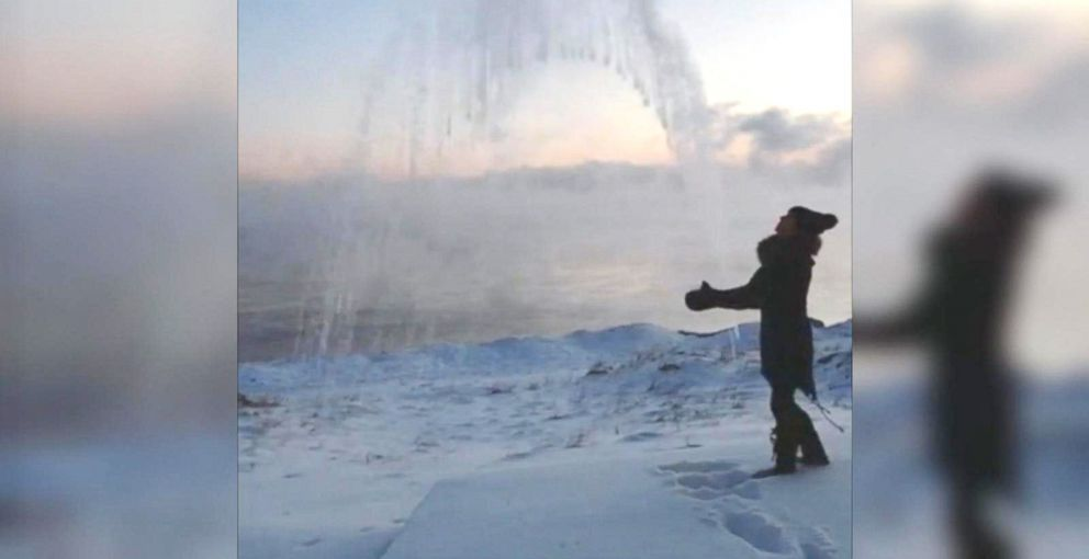 PHOTO:Amy Fogarty took a pot of boiling water and tossed it into the cold air outside her home along Lake Superior. The water freezes instantly mid-air, and falls to the ground as ice.