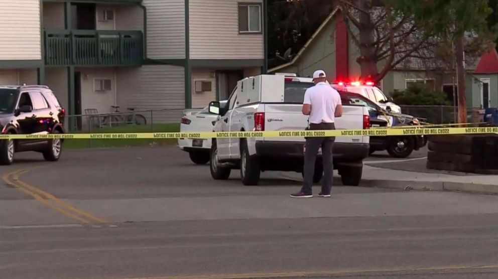 PHOTO: The scene at an apartment complex in Boise, Idaho, on July 1, 2018, where a man went on a stabbing spree the night before.