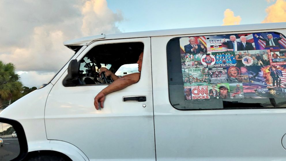 Mail bombing suspect Cesar Sayoc's van is seen in Boca Raton, Fla. on Oct. 18, 2018 in this picture obtained from social media.