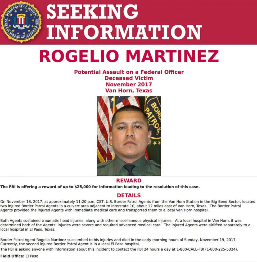 A request for information in the death of U.S. Customs and Border Protection Agent Rogelio Martinez was distributed by the FBI on Nov. 21, 2017 in El Paso, Texas.