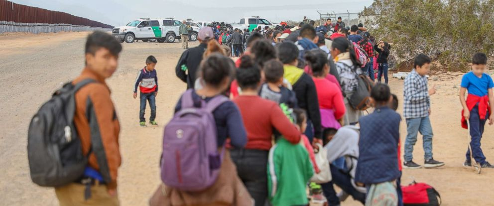 PHOTO: A record large group of 376 migrants tunneled under the border wall near Yuma, Arizona, and turned themselves in to Border Patrol officials for asylum.