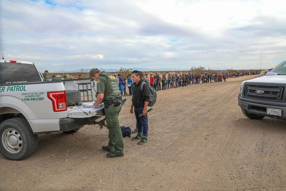 PHOTO: A record large group of migrants tunneled under the border wall near Yuma, Arizona, and turned themselves in to Border Patrol officials for asylum.