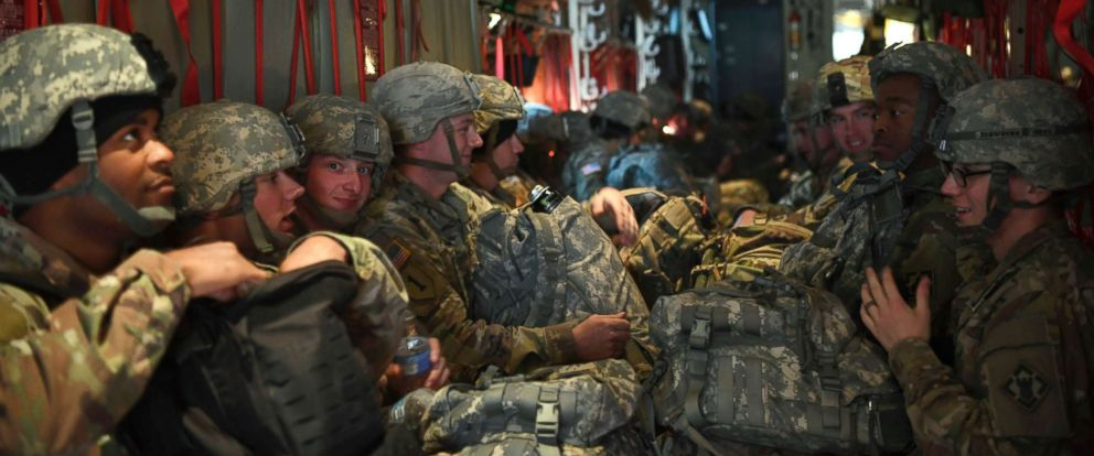 PHOTO: Soldiers from the 541st Sapper Company sit and wait for take-off in an Air Force C-130J Super Hercules, Oct. 30, 2018, at Ft. Knox, Kentucky.