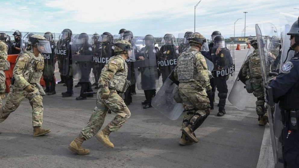 Soldiers with the 66th Military Police Company rehearse lane closures with U.S. Customs and Border Protection officers at the Camino Real International Bridge in Eagle Pass, Texas, Feb 7, 2019. The Department of Defense has deployed units across the Southwest Border at the request of U.S. Customs and Border Protection and is providing logistical, engineering, situational awareness and force protection functions.
