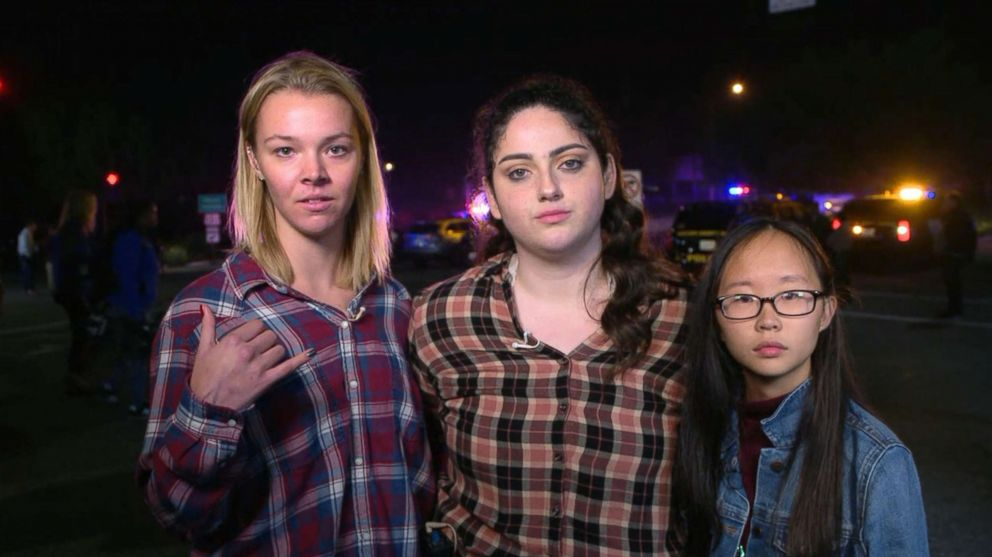 PHOTO: Witnesses Teylor Whittler, Sarah Rose DeSon and Nellie Wong appear on Good Morning America, Nov. 8, 2018, to talk about the shooting at the Borderline Bar and Grill in Thousand Oaks, Calif., Nov. 8, 2018.