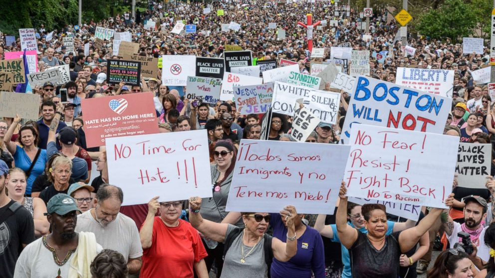A large crowd of people gather ahead of the Boston Free Speech Rally in Boston, Aug. 19, 2017.