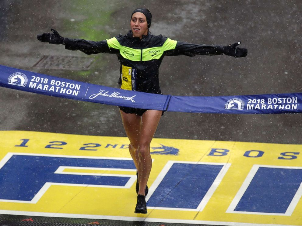 PHOTO: Desiree Linden, of Washington, Mich., wins the womens division of the 122nd Boston Marathon, April 16, 2018, in Boston. She is the first American woman to win the race since 1985.