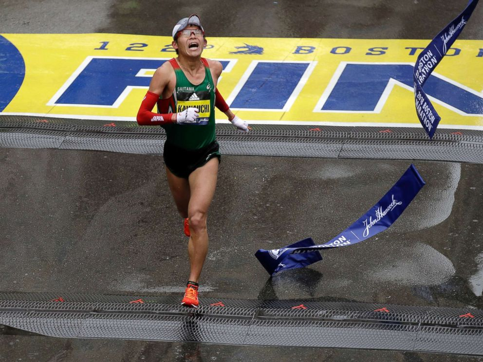 PHOTO: Yuki Kawauchi, of Japan, wins the 122nd Boston Marathon, April 16, 2018, in Boston. He is the first Japanese man to win the race since 1987.