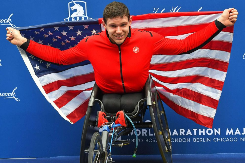 PHOTO: Daniel Romanchuk celebrates after winning the wheelchair division during the 123rd running of the Boston Marathon, April 15th, 2019.