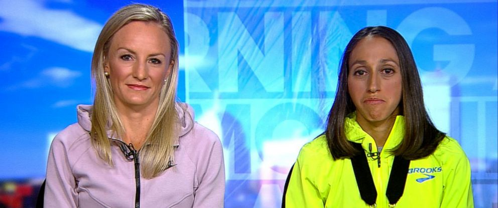 "PHOTO: Shalane Flanagan, left, and 2018 Boston Marathon winner Desiree Linden appear on ""Good Morning America,"" April 17, 2018."