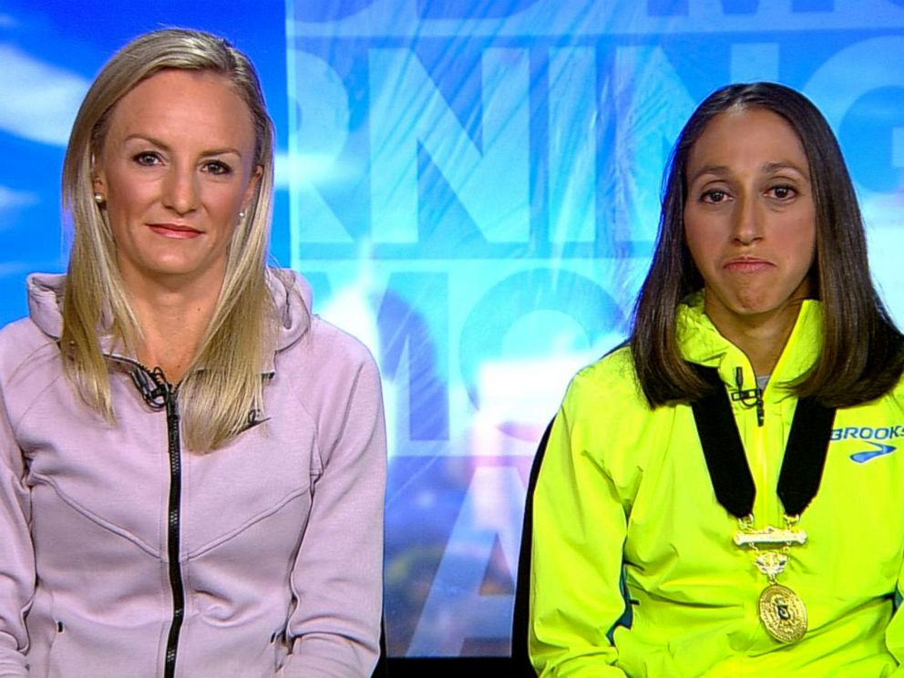 PHOTO: Shalane Flanagan, left, and 2018 Boston Marathon winner Desiree Linden appear on Good Morning America, April 17, 2018.
