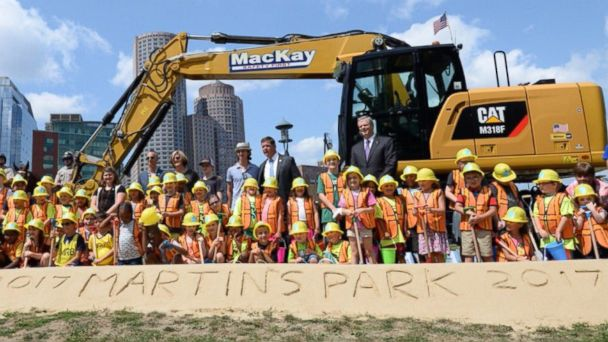 Officials break ground on new park honoring the youngest victim of the Boston Marathon bombing