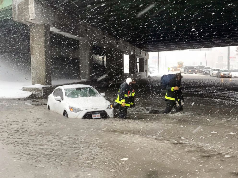 PHOTO: The Boston Fire Department shared images of Neponset Circle firefighters rescuing a driver who was trapped by rising water in Boston, Jan. 4, 2018.