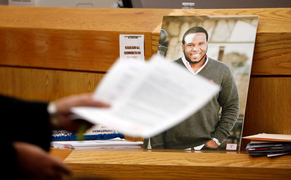 PHOTO:A photo of victim Botham Jean leans against Judge Tammy Kemps bench during the murder trial of former Dallas police officer Amber Guyger, Sept. 24, 2019, in Dallas.