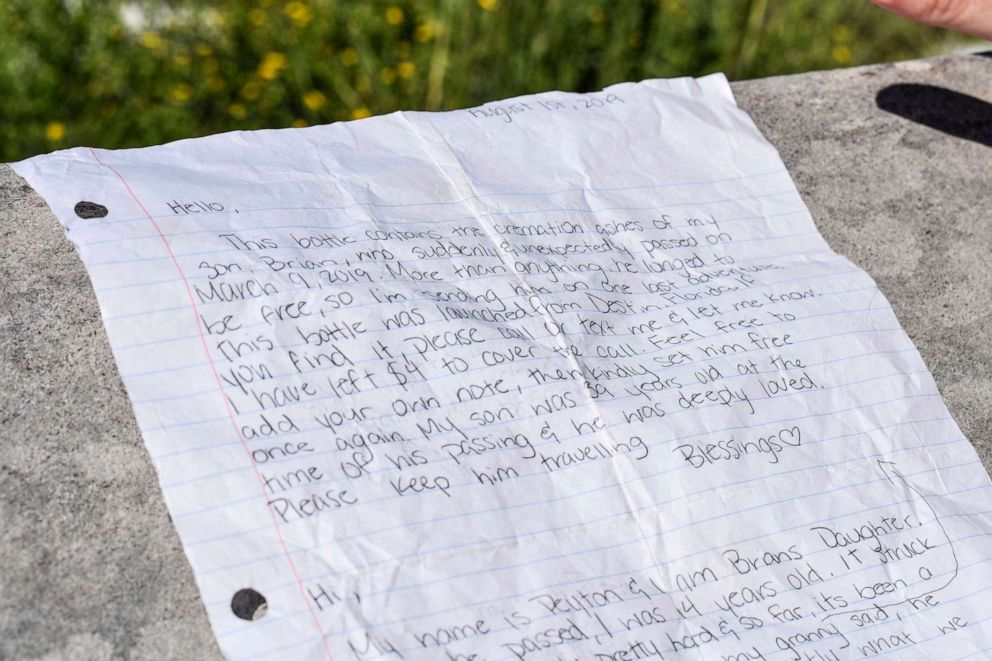 Bottle carrying Texas man's ashes with family's letters