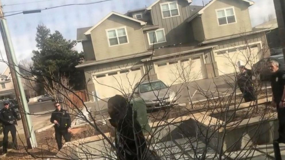 PHOTO: Cell phone video shows police, some with guns drawn, confronting a black man in Boulder, Colorado, on March 1, 2019, who claimed he was just picking up trash on his own property with a metal trash grabber.