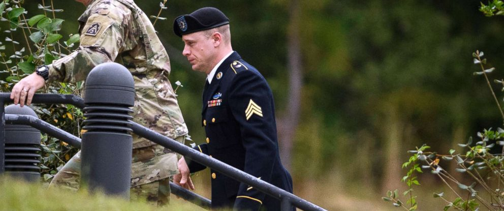 PHOTO: Sgt. Bowe Bergdahl, right, arrives for a motions hearing, Oct.16, 2017, at Fort Bragg in Fayetteville, North Carolina.
