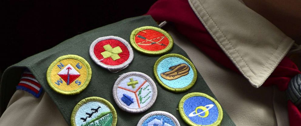 PHOTO: A Boy Scout wears a sash displaying his earned merit badges at a ceremony in New York, April 26, 2015.