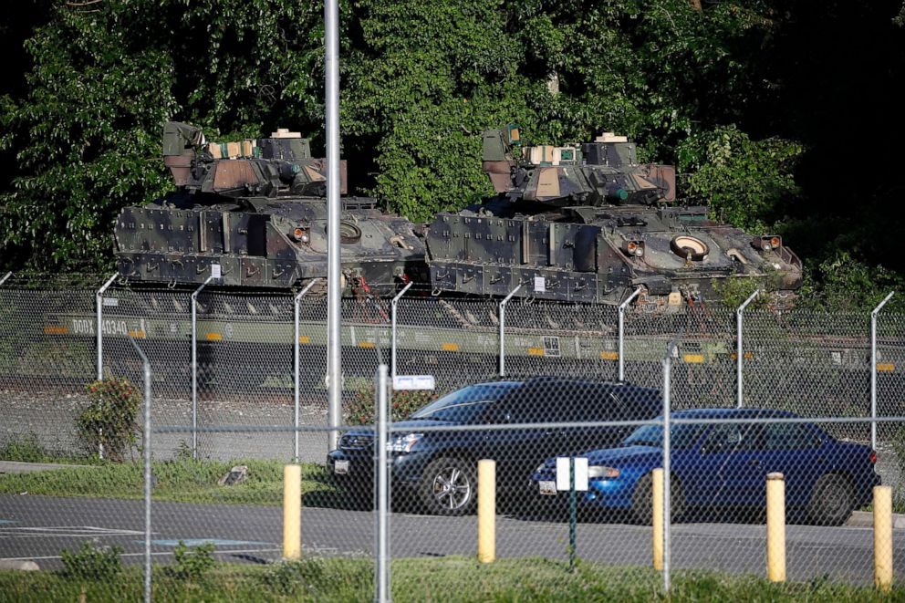 PHOTO:Bradley Fighting Vehicles sit on a flat car in a rail yard, Monday, July 1, 2019, in Washington, ahead of a Fourth of July celebration that President Donald Trump says will include military hardware.