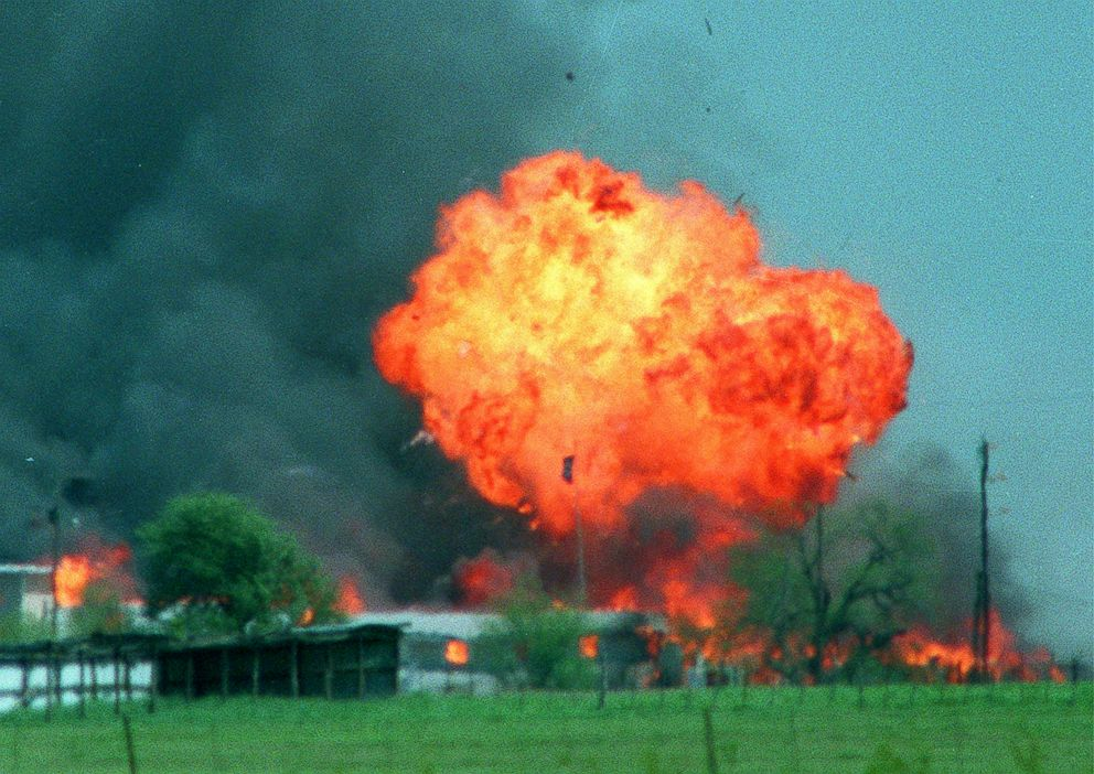 A ball of fire erupts from the Branch Davidian compound in Waco, Texas, April 19, 1993.