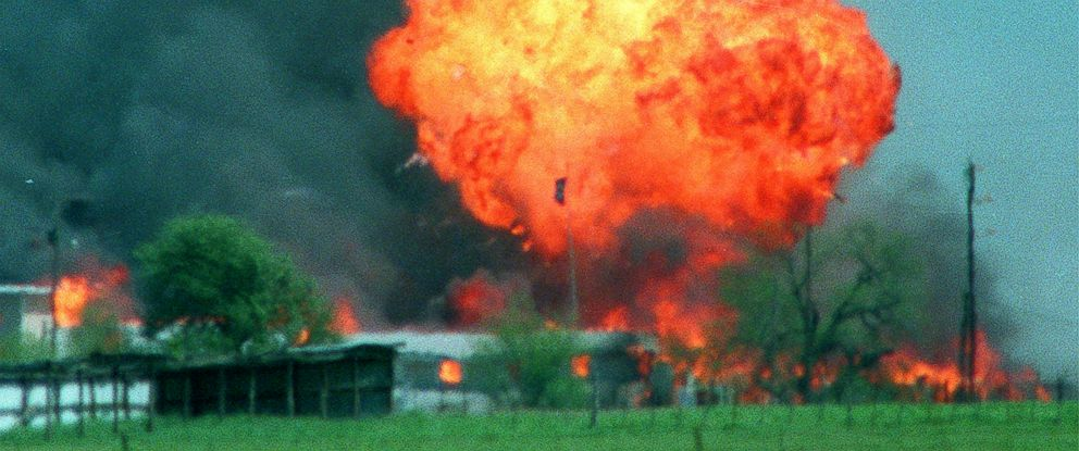 PHOTO: A ball of fire erupts from the Branch Davidian compound in Waco, Texas, April 19, 1993.