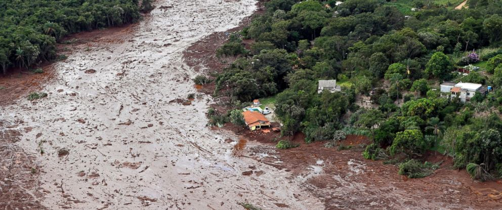 PHOTO: An aerial view shows a partially destroyed house after a dam collapsed in Brumadinho, Brazil, Saturday, Jan. 26, 2019.