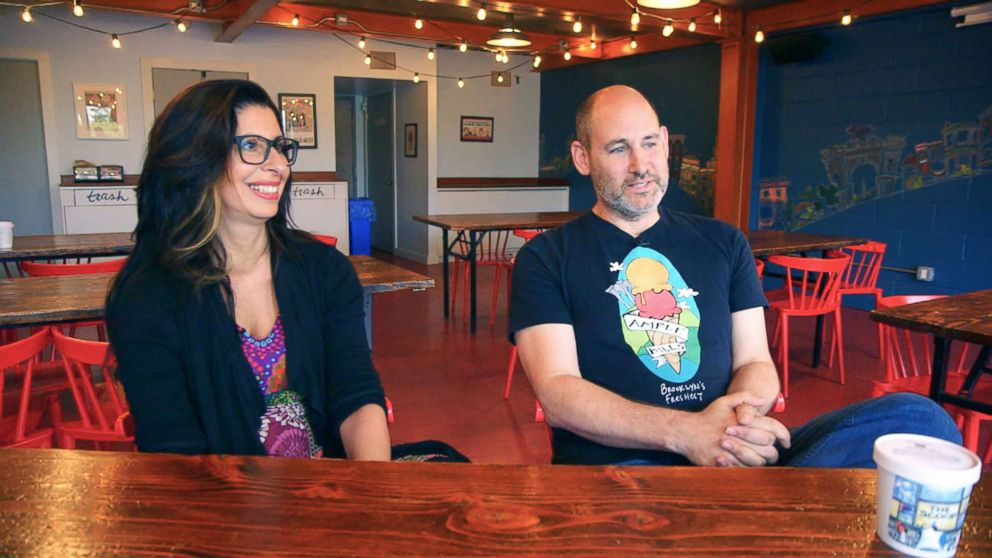 PHOTO: Jackie Cuscuna and Brian Smith say they opened Ample Hills Creamery in 2011, with a mission to create a shop where family and friends could gather as a community and enjoy their ice cream.