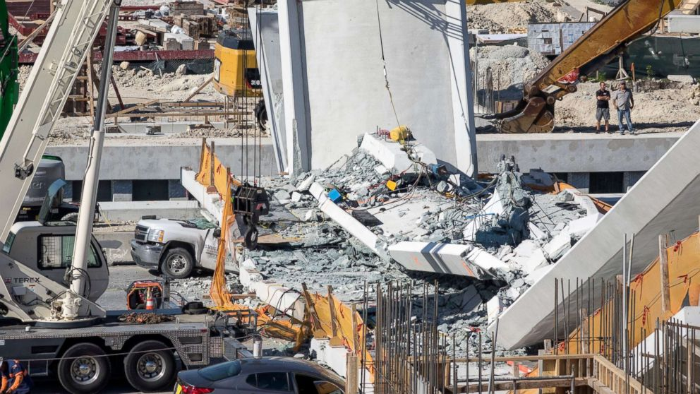 A pedestrian bridge collapsed on the Florida International University campus in Miami, March 15, 2018.
