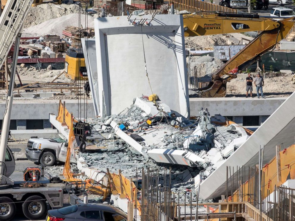 PHOTO: A pedestrian bridge collapsed on the Florida International University campus in Miami, March 15, 2018.