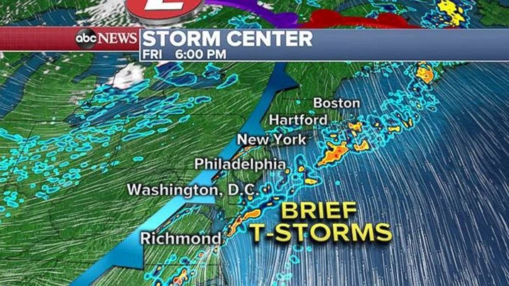 PHOTO: The Northeast will see a warm and mostly dry Friday. A few thunderstorms are possible in the afternoon.