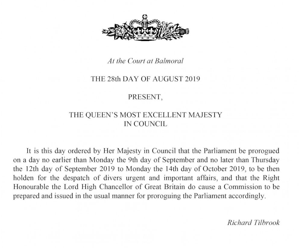 PHOTO: This handout image provided by the Privy Council shows a notification that the Queen has approved a request to suspend Parliament, on Wednesday, Aug. 28, 2019.