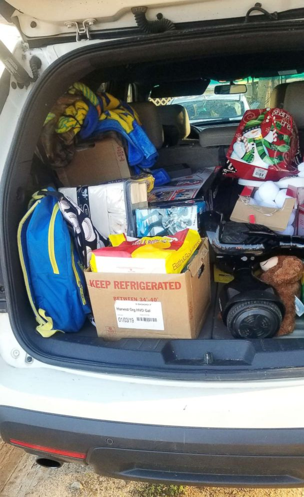 PHOTO: Brittany Croston says she is storing her sons Christmas gifts in the car because they have nowhere to put them until they can get into their new house.