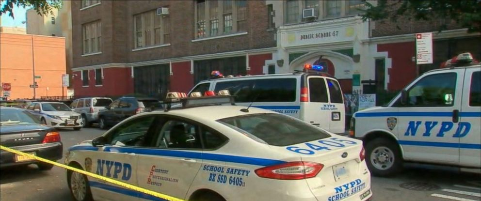 PHOTO: Two teenagers were stabbed, one fatally, at P.S. 67 in the Bronx borough of New York, Sept. 27, 2017.