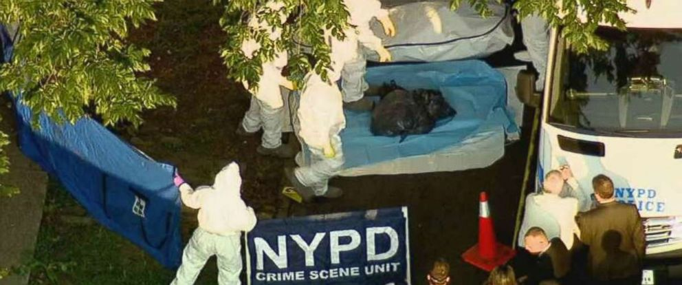 Human remains were found in two black garbage bags on the side of a street in the Bronx, New York, on Friday, Aug. 24, 2018.