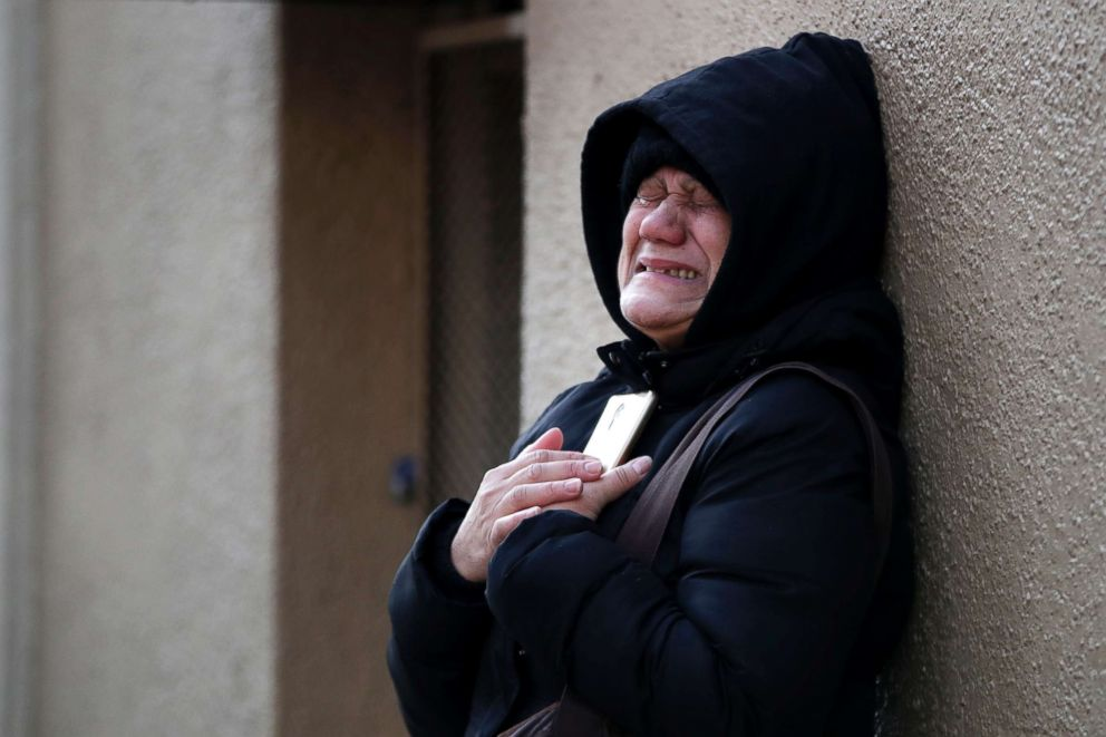 PHOTO: Nilda Guerrero, a friend of the superintendent of an apartment apartment building where at least 12 people died in a fire in the Bronx borough of New York, cries after trying to visit the building, Dec. 29, 2017.