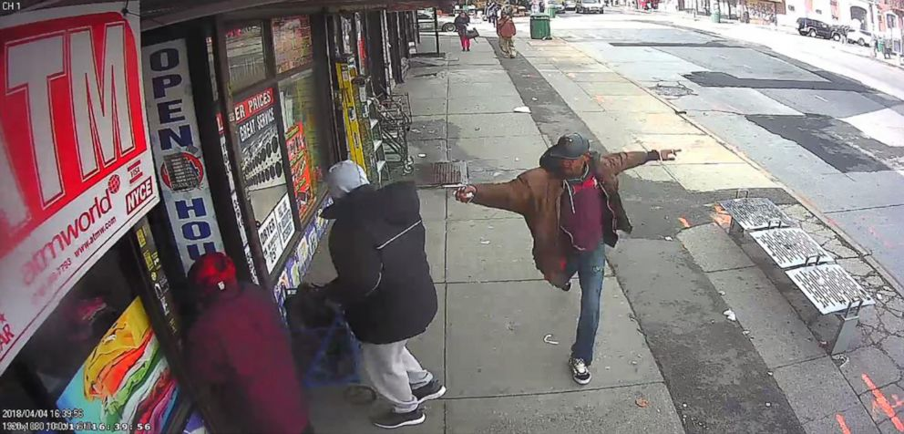 PHOTO: A man holding a pipe was shot and killed by police officers who believed he was pointing a gun in New York City on April 4, 2018.