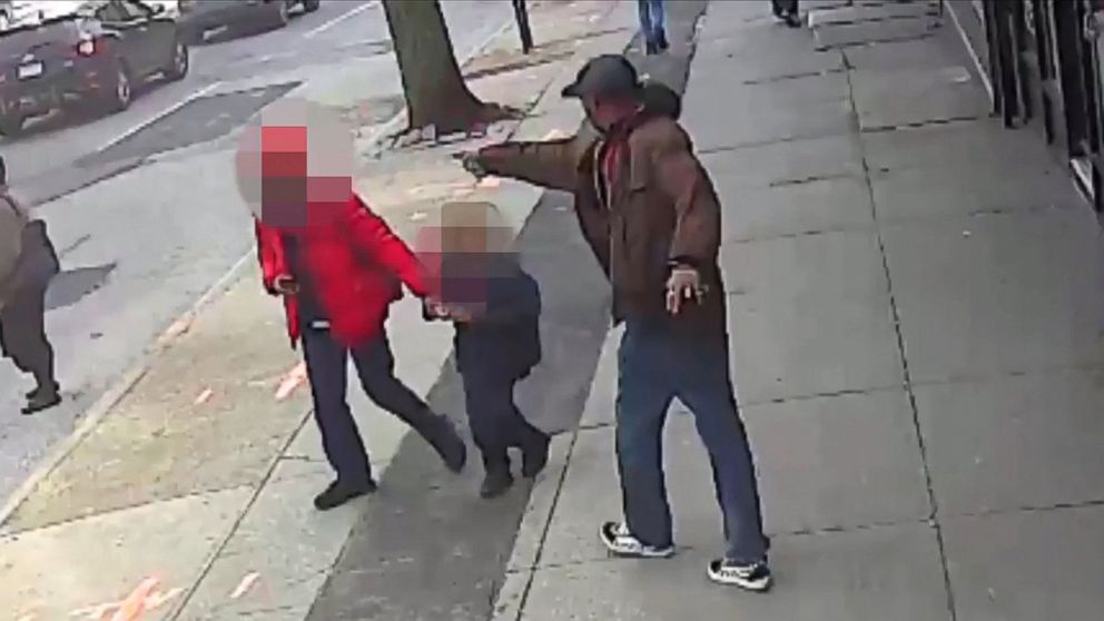 PHOTO: Saheed Vassell points a metal pipe at a pedestrian in Brooklyn, New York, April 4, 2018, in a still image from surveillance video released by the New York Police Department on April 5, 2018.