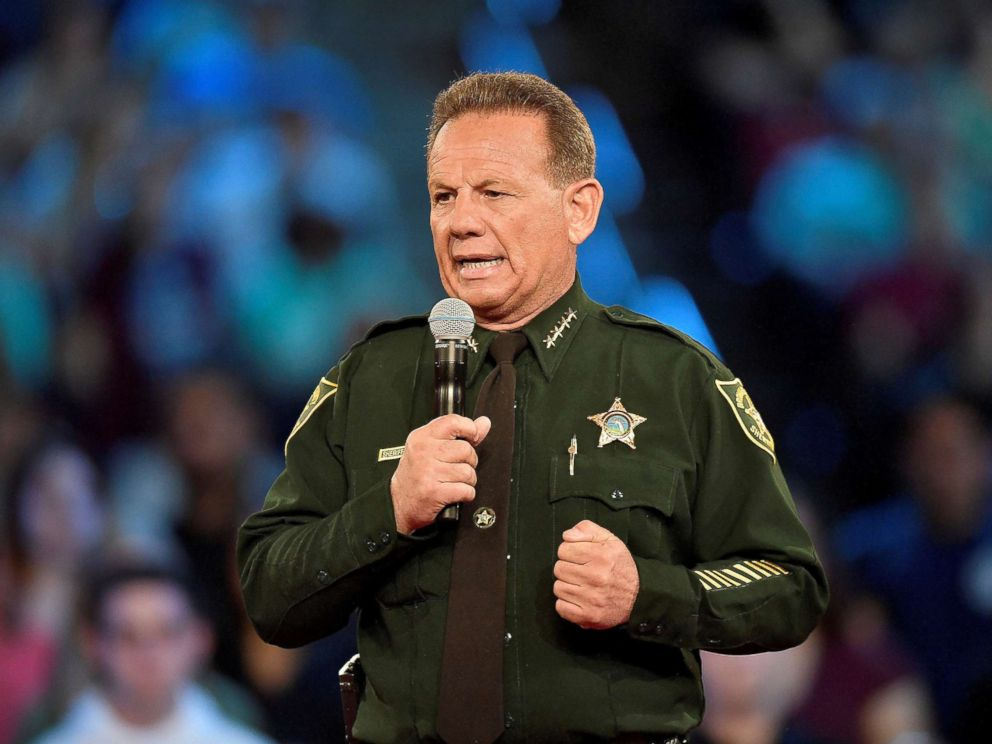 PHOTO: Broward County Sheriff Scott Israel speaks before the start of a CNN town hall meeting at the BB&T Center in Sunrise, Fla., Feb. 21, 2018.