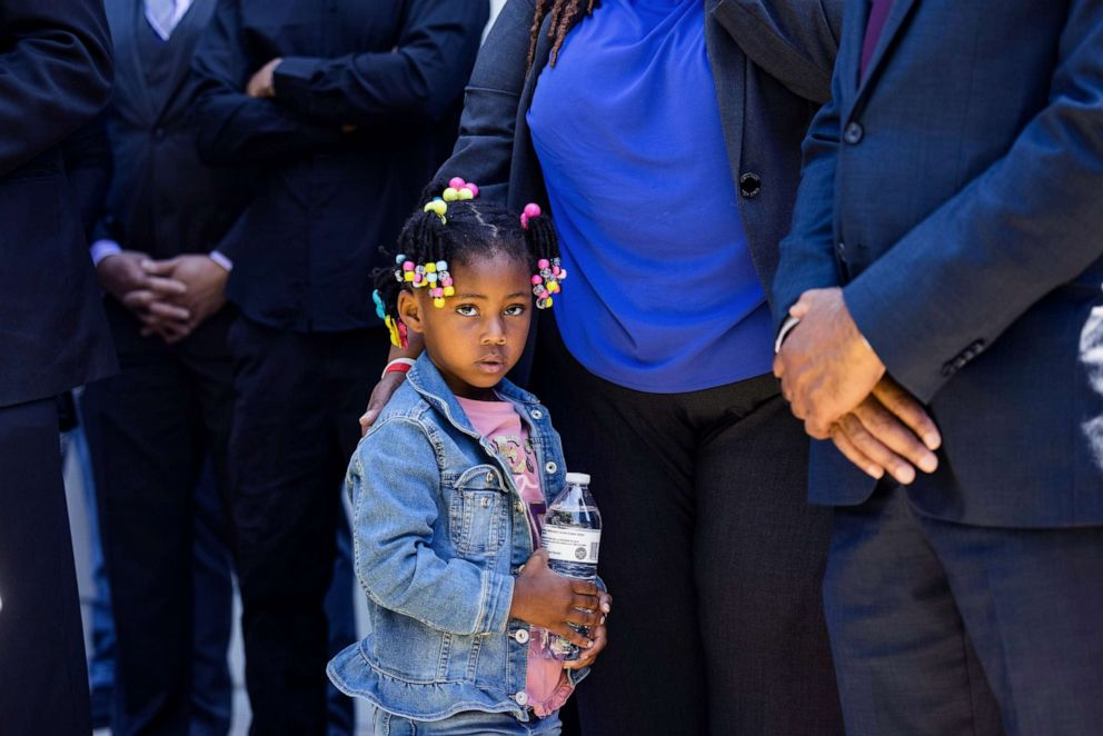 PHOTO: Andrew Brown's youngest daughter listens to Attorney Benjamin Crump, who is representing the Brown family, speak outside the Pasquotank County Sheriff's Office in Elizabeth City, N.C., April 26, 2021.