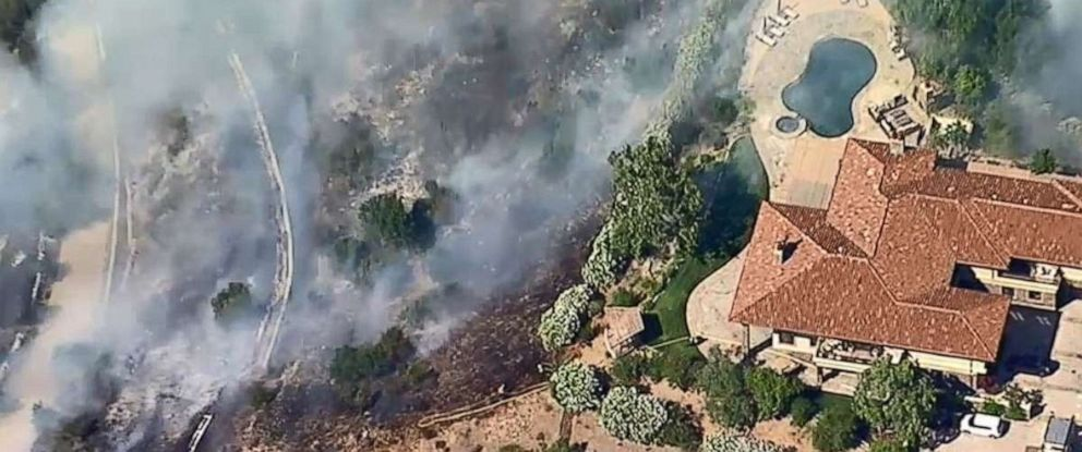 PHOTO: A small brush fire broke out near Newbury Park, Calif., in Southern California, on Friday, July 27, 2019.