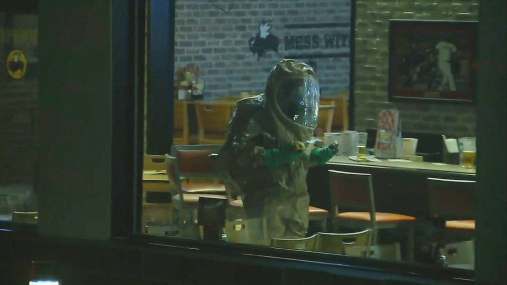 PHOTO: A chemical incident at a Buffalo Wild Wings restaurant in Burlington, Mass, on Nov. 7, 2019.