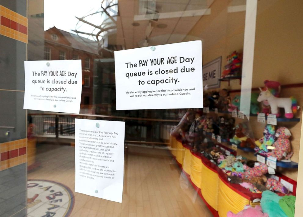 PHOTO: A closed sign on the window of the Build-A-Bear store in Belfast where police were called to deal with crowds who turned up for an over subscribed pay your age promotion, July 12, 2018.